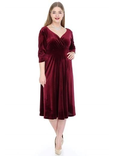 Angelino Butik Büyük Beden Kadife Elbise KL8003ka Bordo